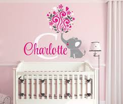 Elephant Custom Name Personalized Initial Wall Decal Sticker For Nursery Girl S Room Or Playroom N Elephant Nursery Girl Nursery Monogram Elephant Baby Rooms