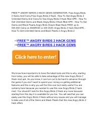 FREE™ANGRY BIRDS 2 GEMS AND COINS GENERATOR}} - Angry Birds 2 Gems ...