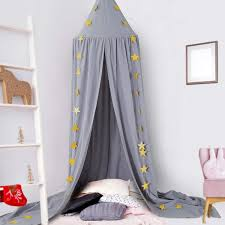 Amazon Com Ceekii Canopy For Girls Bed Round Dome Hook Cotton Princess Mosquito Net Canopy Kids Bedroom Games Reading Tent Nursery Play Room Decor Gray Baby