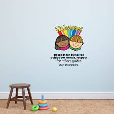 Zoomie Kids Respect School Classroom Life Quote Cartoon Quotes Wall Sticker Art Design Decal For Girls Boys Kids Room Home Decor Wall Art Vinyl 30x27 Inch Wayfair