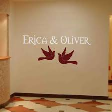 Personalized Wedding Monograms Doves Names Wall Decal Sticker Graphic