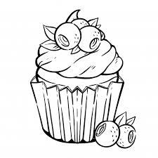 Kleurplaat Met Schattige Cupcake Room Bosbes Bladeren Muffin