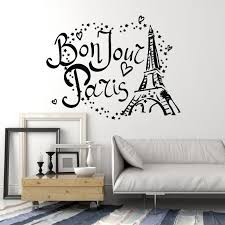 Vinyl Wall Decal Bonjour Paris Eiffel Tower France Love Stars Stickers Wallstickers4you