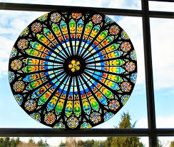 stained glass window cling rose window