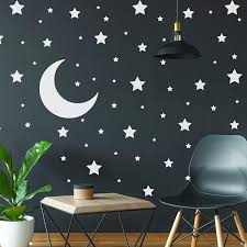 Amazon Com White Stars Stickers Space Themed Bedroom Constellation Wallpaper Decor Decal Star Moon Nursery Room Decals For Wall 220 Stickers Home Improvement