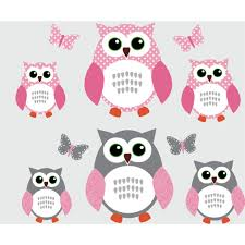 Pink And Gray Owl Decal With Butterfly Wall Mural For Girls Bedrooms