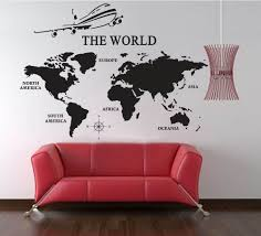World Map Of Earth Wall Decal Vinyl Art Wall Sticker Home Office Decor 91 Wx50 H Home Decor Living Room