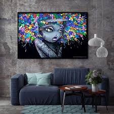 Xx3181 Modern Creative Abstract Girl Graffiti Canvas Painting For Kids Room Wall Art Posters And Prints Wall Pictures Decor Street Art Graffiti Street Art Abstract Girl Painting