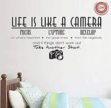 Amazon Com Jiarui Wall Stickers Life Is Like A Camera Vinyl Wall Decal Words Quote Wall Art Sticker Hom Vinyl Wall Decals Sticker Wall Art Wall Art Quotes