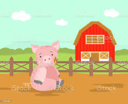 Cute Pig Farm Animal Rural Landscape With Wooden Fence And Barn Vector Illustration Stock Illustration Download Image Now Istock