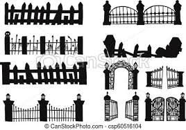 Set Of Halloween Fence Fence Vector By Hand Drawing