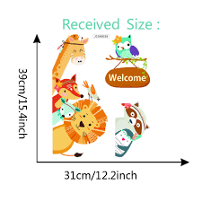 Cartoon Fox Lion Giraffe Tribal Animal Door Sticker Wall Art Funny Welcome Quote Decal For Kids Room Home Decor Vinyls Wallpaper Wallcorners Art Canvas