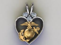 14k gold marine corps heart pendant
