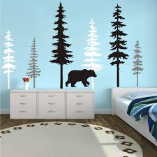 Amazon Com Large Forest Pine Tree With Bear Wall Decals Woodland Trees Wall Sticker For Nursery Room Art Kids Room Bedroom Decoration Forest Tree Animal Wall Mural White Gray Black W Bear Kitchen Dining