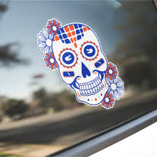 Razorbacks Themed Cardinal White Sugar Skull Tusks Vinyl Decal Sticker Gameday Of The Dead