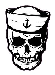Navy Skull Vinyl Decal Large 7 Inch Naval Decals Navy Sailor Etsy