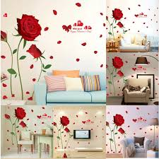 Us Romantic Valentine S Day Wall Sticker Removable Red Rose Decal Home Decor Pvc For Sale Online