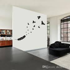 Vinyl Popular Tattoo This Crow Feather To Flight Symbol Makes An Incredible Wall Decal Wall Sticker Living Room Home Decor Cheap Wall Decor Stickers Cheap Wall Murals And Decals From Shouya2018 18 09