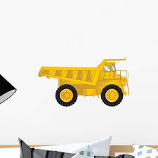 Amazon Com Wallmonkeys Yellow Dump Truck Wall Decal Peel And Stick Decals For Boys 18 In W X 10 In H Wm30377 Home Kitchen