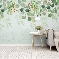 Watercolor Haning Down Leaves Wallpaper Wall Mural Olive Etsy Wall Murals Leaf Wallpaper Wall Wallpaper