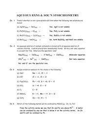 aqueous rxns sol n stoichiometry