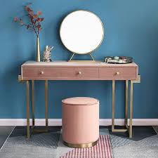 gold makeup vanity with drawers pink