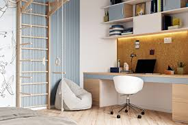 Modern Blue Kids Bedroom With Jungle Gym Reading Nook And Work Desk With Corkboard Awesome Decors