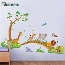 Big Jungle Animals Bridge Vinyl Wall Stickers Kids Bedroom Wallpaper Decals Cute Anime Baby Children Cartoon Room Nursery Decor Buy At The Price Of 5 21 In Aliexpress Com Imall Com