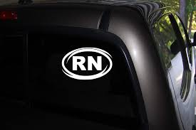 Amazon Com Classy Vinyl Creations Rn Oval Decal Registered Nurse Decals Decal Car Truck Automotive Window Black Or White Decal Bumper Sticker 3 5 H X 6 W Home Kitchen