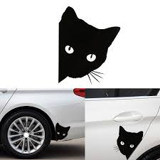 Peering Cat Car Decal Kitty Cat Gifts Free Shipping