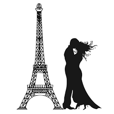 Shop Kissing Couple Next To Eiffel Tower Wall Vinyl Art Overstock 9204061
