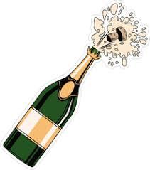 Champagne Bottle Open Pop Art Sticker