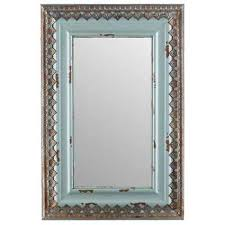 antique cream metal wall mirror with