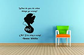 Amazon Com Snow White Princess Wall Decals For Girls Bedroom Disney Sticker Art For Girl Room Designs For Kids Walls Fairy Tale Cute Design Pink Crown Size 20x20 Inch Home Kitchen