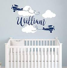 Amazon Com Personalized Boy Name Wall Decals Decals For Boys Clouds Biplane Airplane Nursery Decals Art Wall Vinyl Sticker Plane Name For Son S Nursery Wall Decor Custom Baby Boy Name Wall Decal Vs88