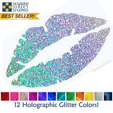 Lips Holographic Glitter Decal Seward Street Studios