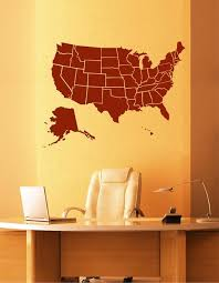 Ik2249 Wall Decal Sticker Usa Map All States Living Room Bedroom Offic Stickersforlife