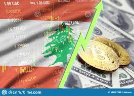 Lebanon Flag And Cryptocurrency Growing Trend With Two Bitcoins On ...