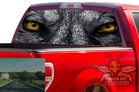 Wolf Eyes Rear Window Decals Perforated Vinyl Ford F150