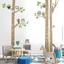 Owls Wall Decal Birch Trees Wall Decal Birch Trees And Owls Etsy