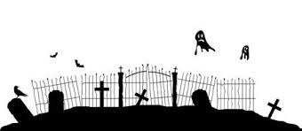Silhouette Of Graveyard Fence With Flying Ghosts Halloween Theme Vector Art Royalty Free Vector Graphics