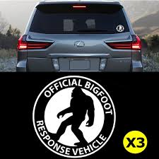 3pcs Official Bigfoot Response Sasquatch Finding Car Window Die Cut Gr Xotic Tech