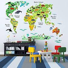 Amazon Com Eveshine Animal World Map Wall Decals Stickers For Bedroom Living Room Home Kitchen