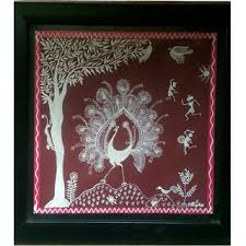 warli painting on brown paper with