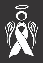 Amazon Com White Lung Cancer Angel Ribbon Awareness Die Cut Vinyl Window Decal Sticker For Car Truck Arts Crafts Sewing
