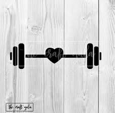 Barbell Decal Barbell Car Decal Barbell With Heart Crossfit Etsy