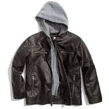 black rivet hooded faux leather jacket