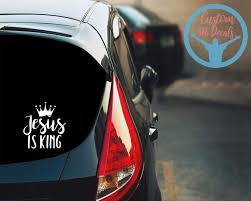 Jesus Is King Kanye West Christian Gift Baptism Gift Etsy In 2020 Christian Decals God Decal Car Window Stickers