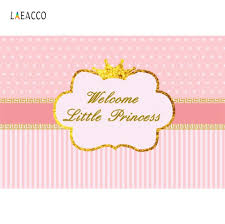 Pink Stripes Welcome Little Princess Birthday Party Gold Crown