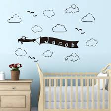 Airplane Flag Personalized Name Wall Sticker Clouds Customied Name Vinyl Baby Wall Decal Boys Bedroom Home Decor Mural Jw170 Decoration Murale Baby Wall Decalswall Sticker Cloud Aliexpress